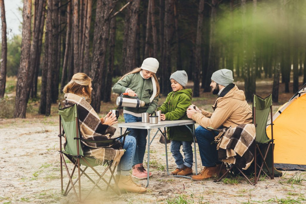 warm family whle camping