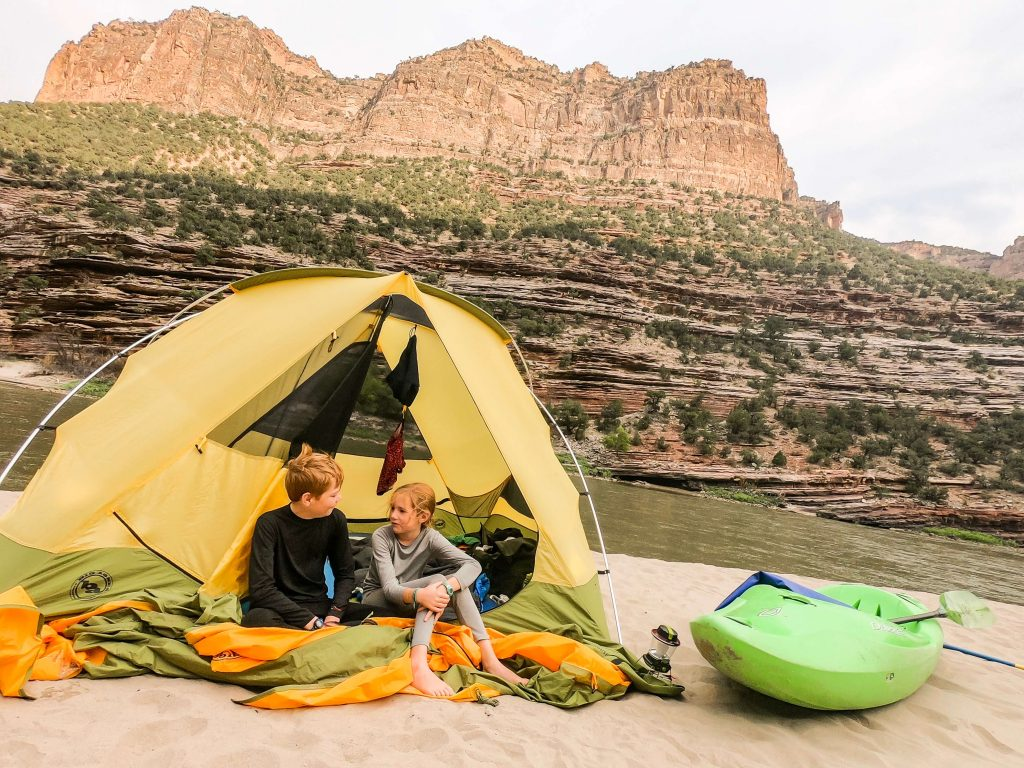 camping on a river trip with kids