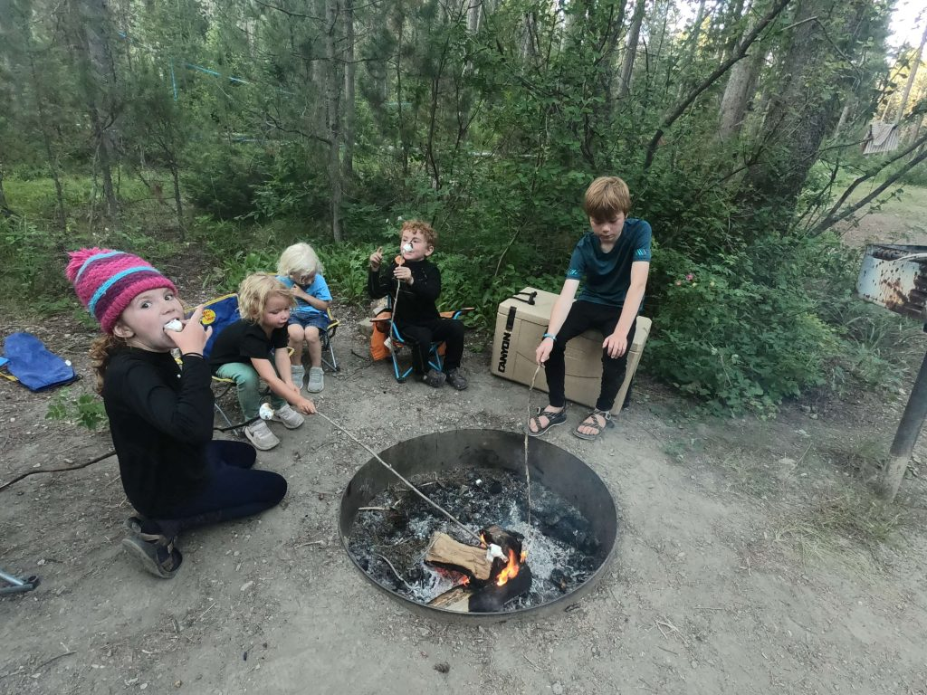 cooking over a campfire with kids