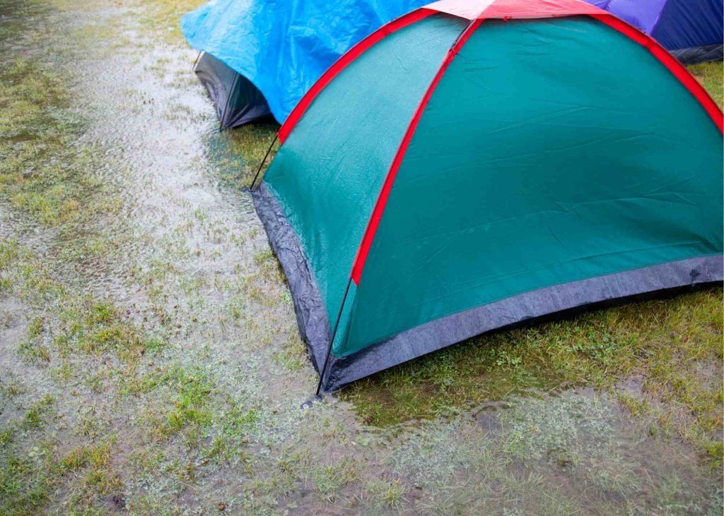 tent  in rain puddle