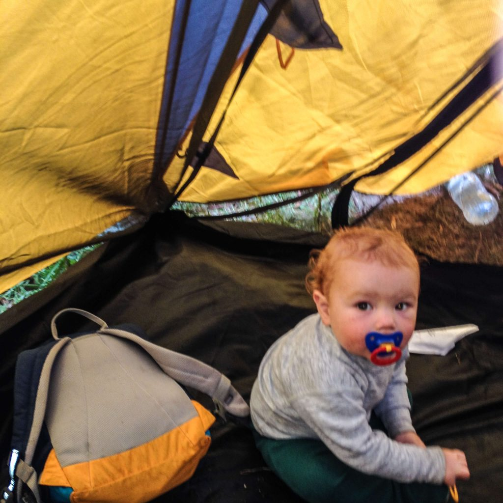 Cameron baby in tent